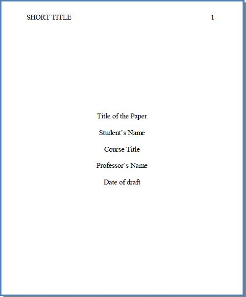 Template of a cover page for an essay